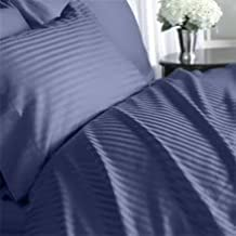 Egyptian Bedding 1000 Thread Count Egyptian Cotton 1000TC Sheet Set, Olympic Queen, Navy Stripe 1000 TC