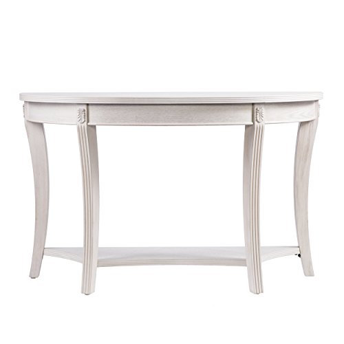 Furniture HotSpot – Demilune Console Table – Whitewashed – 46.75″ W x 17″ D x 29″ H