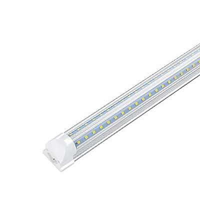 (Pack of 4) 3FT LED Shop Light Fixture, 27W 2700LM 6000K, Cool White, V Shape, High Output, Linkable Shop Lights, T8 LED Tube Lights, Clear Cover, Plug and Play, for Garage Warehouse Workshop Basement