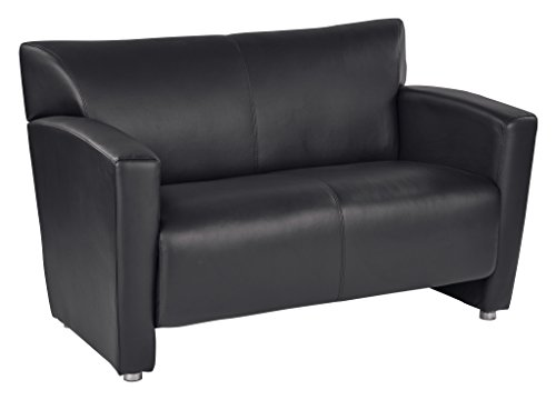 Leather Club Lounge Loveseat - Office Star Black Faux Leather Loveseat with Silver Finish Legs
