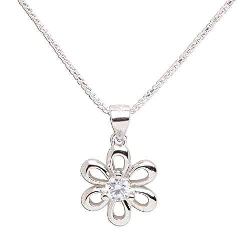 Girls Sterling Silver Daisy Simulated April Birthstone Necklace for Children ()