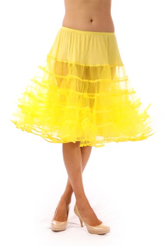 Lindy Hop Dress Costume (Malco Modes Womens Crinoline Petticoat for 50s Poodle Skirt Costume or vintage dresses. Tulle tutu skirt, adult dance skirt. Plus size petticoat available - Yellow - Small (21 inches long))