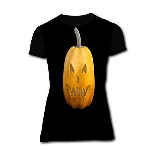 Yellow Smiley Face Pumpkin Black Simple and Chic Women Short Sleeve Round Top for Summer -