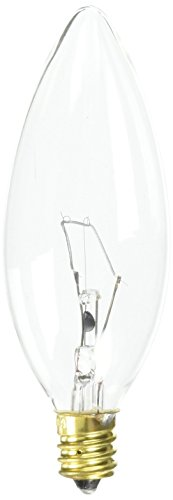 Bulbrite 60CTC/HV Candelabra Base, 220 Volt 60-Watt High Voltage Incandescent Torpedo Chandelier Bulb, Clear ()