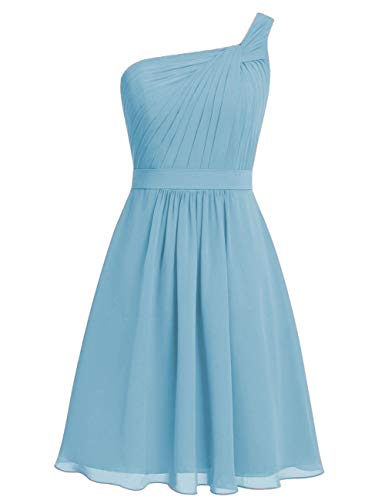 (EDressy Short Bridesmaid Dresses Chiffon Prom Cocktail Dress One Shoulder Party Formal Gowns Sky Blue US 8)