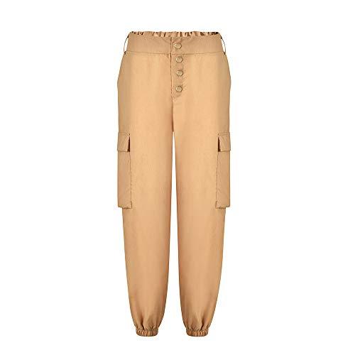 (POQOQ Pants Leggings Women Ponte Knit Plus-Size All Around Comfort Casual Plaid Stretchy Work Millennium XL Khaki)