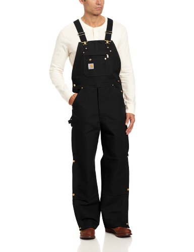 Carhartt Men's Zip To Thigh Bib Overall Unlined,Black,32 x 36