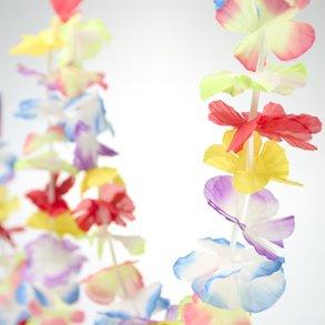 SET OF 3 - Bright Jumbo Flower LUAU PARTY Lei Garlands (9 feet each) { total of 27 Feet Luau Flower Garlands}