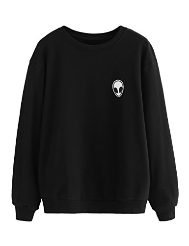 Cute Black Teen (SweatyRocks Womens Casual Long Sleeve Pullover Sweatshirt Alien Patch Shirt Tops (Small,)