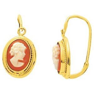 So Chic Bijoux © Boucles d'oreilles Femme Brisures Camée Rouge Or Jaune 750/000 (18 carats)