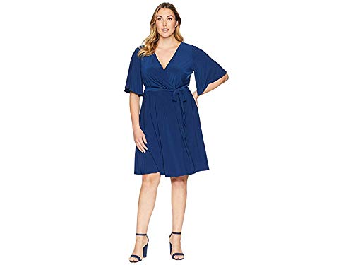 Adrianna Papell Women's Plus Size Matte Jersey Wrap Dress with Full Elbow Sleeve Navy Sateen 22 W