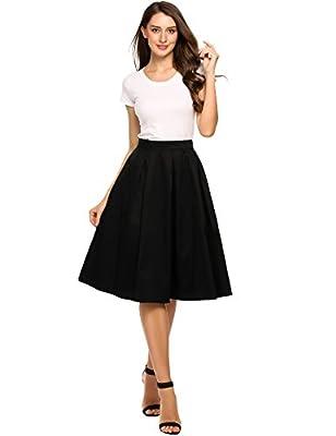 Zeagoo Women's High Waist A Line Flare Midi Pleated Skirts Knee Length