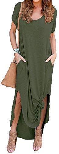Re Tech UK Womens Ladies Side Slit Maxi Dress with Pockets Short Sleeve Curved Hem Casual Split Plain Loose Baggy Lagenlook V-Neck