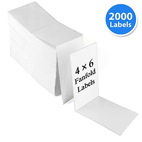 4x6 Fanfold Direct Thermal Labels, Perforated, White Mailing Address Postage Labels, 2000 Labels, 1 Stack, Compatible Zebra, Elton, Datamax, Sato, Intermec, NEX, Permanent Adhesive