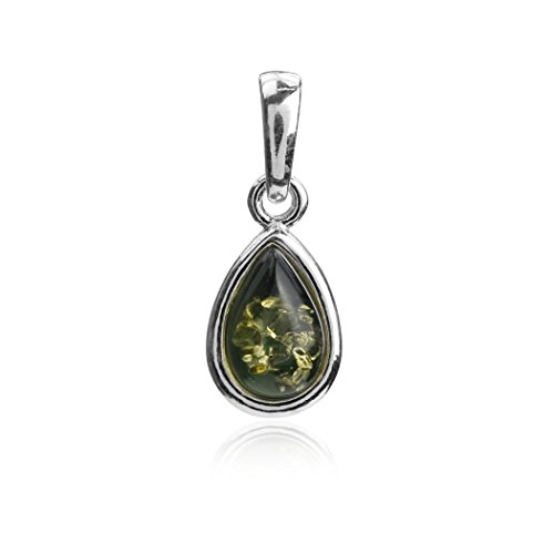 (Ian and Valeri Co. Green Amber Sterling Silver Small Drop Pendant)