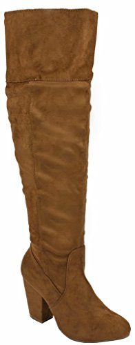 Heel Toe Round Tan Carmen Suede Faux Boots Knee Fashion Slouchy Over Chunky Women Hp8qYaw