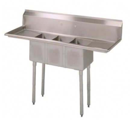 BK Resources BKS-3-1014-1015T 3-Compartment Sink, Left and Right Drainboards | 60