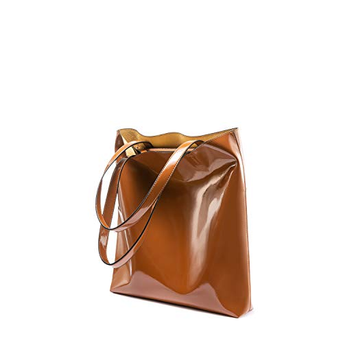 Handbags for Women Totes Shoulder Purses Bags Zip Shopper Light and Thin Soft Leather Lightweight Waterproof Normal Brown ()