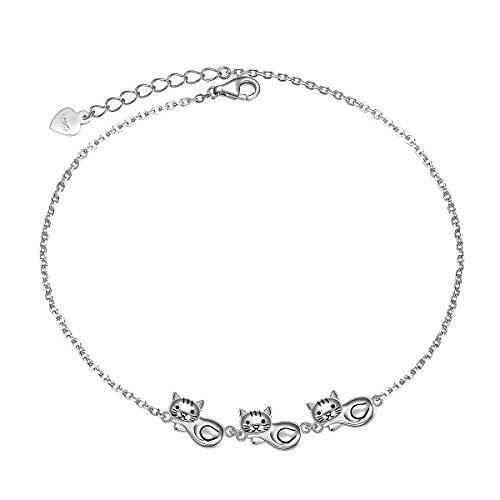 Cat Anklet for Women Girl S925 Sterling Silver Adjustable Kitty Ankle Foot Bracelet Plus 10 Inch Cat Sterling Silver Anklet