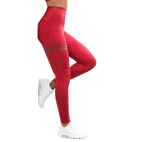 Gillberry Women's Workout Leggings Capris with Stripe- Yoga Pants for Running Sports Fitness Gym (Red, M)