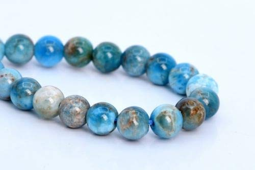 """4-5mm Genuine Natural Apatite Beads Grade Round Gemstone Loose Beads 7.5"""" Crafting Key Chain Bracelet Necklace Jewelry Accessories Pendants ()"""
