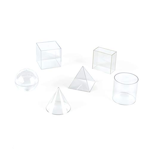 hand2mind Plastic Fillable 3D Shapes, Clear Geometric Solids for Measuring Volume (Set of 6) ()