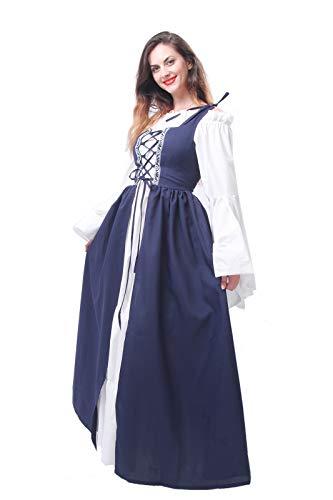 Lemail Womens Renaissance Medieval Irish Costume Irish Over Dress Boho Chemise Navy Blue L by Lemail wig (Image #3)
