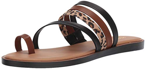 - Kenneth Cole REACTION Women's Spring Toe Loop Flat Sandal Black/Multi Leopard, 8.5 M US