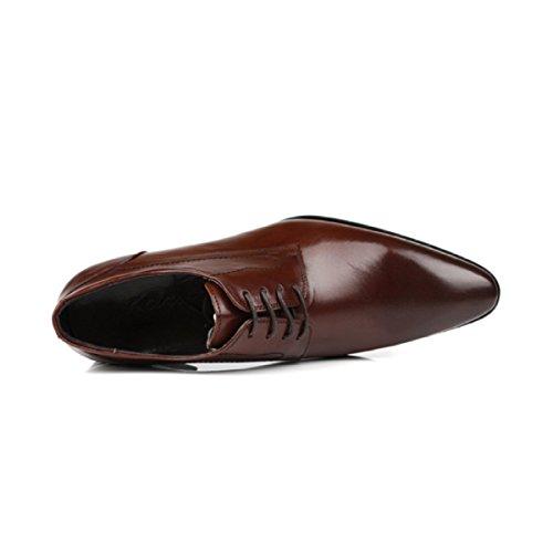 Lyzgf Mannen Gentleman Business Casual Mode Comfortabele Banket Wees Veter Leren Schoenen Bruin