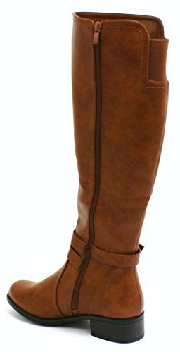 Heel Leather Block Ladies Womens Knee Faux Up Camel Boots SHU High Q86 Zip Winter Riding Low CRAZY wCHqx10