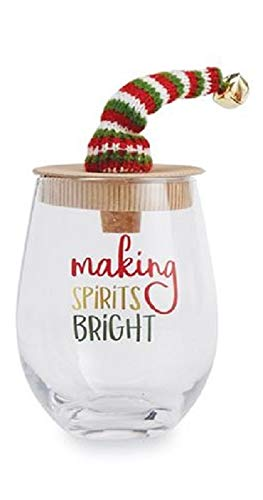 Mud Pie Making Spirits Bright Holiday Hats Stemless Wine Glass with Stopper