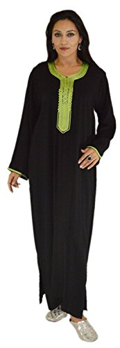 Moroccan-Caftans-Women-Handmade-with-Embroidery-Medium-to-X-large-Breathable-Black