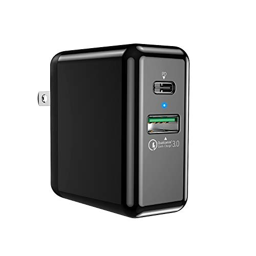 QC PD Charger,DualAxon 18W QC 3.0 Wall Charger,27.6W PD USB C Quick Charger,Dual Port Power Delivery 36W Fast Wall Charger compatible iPhone 8/X,ipad Pro,Macbook,Samsung S8/S9/Note 8,LG ThinQ and More