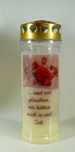 GrablichkKerze Rose rot, und wir glaubten... 20x7cm - 3759 - ca. 7 Tage Brenndauer - Grabkerze mit Motiv und Spruch - Trauerkerze mit Foto und Spruch