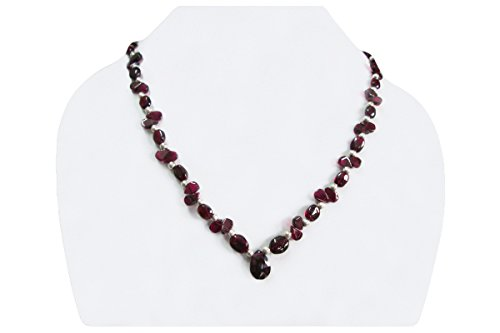 Handmade Single Strand Garnet Beads Necklace with Sterling Silver findings by Anushruti 16