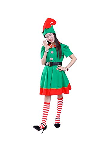 Christmas Elf Costume Womens Holiday Elf Dress 4-Piece Set