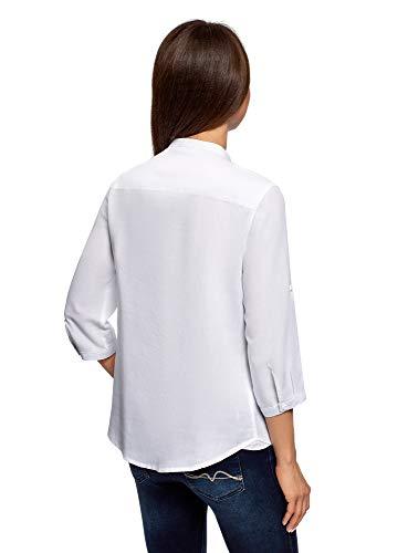 in Donna White Camicia Mao Oodji collo cotone con Collection 1000n ZpgqWROwtx