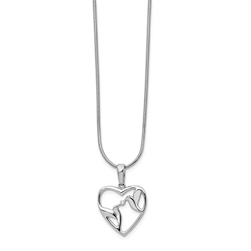 ICE CARATS 925 Sterling Silver Diamond Bird Heart Chain Necklace S/love Animals/insect Fine Jewelry Gift Set For Women (Diamond Bird)