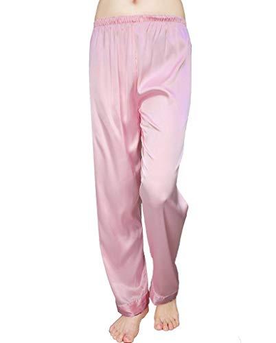 Trousers Pajama (Wantschun Womens Satin Silk Sleepwear Pyjamas Long Pants Nightwear Loungewear Pajamas Bottom Trousers Pink US L (Tag Size 3XL))