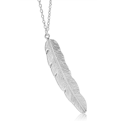 - Simple Style Metal Leaf Feather Design Pendant Sweaters Long Necklace