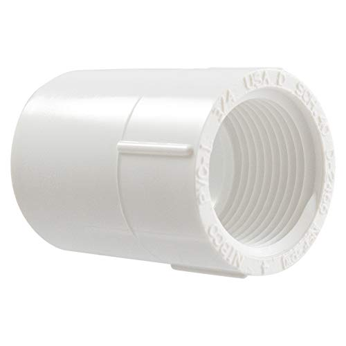 - NIBCO 435 Series, PVC Pipe Fitting, Schedule 40, 3/4 in. Slip x FNPT Adapter