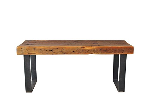 Bench, Reclaimed Wood Industrial Steel Bench, FREE SHIPPING, Thick Top