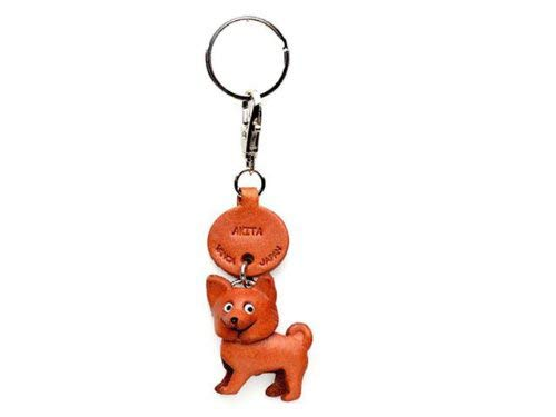 Akita Dog Leather Dog Small Keychain VANCA Craft-Collectible Keyring Charm Pendant Made in Japan