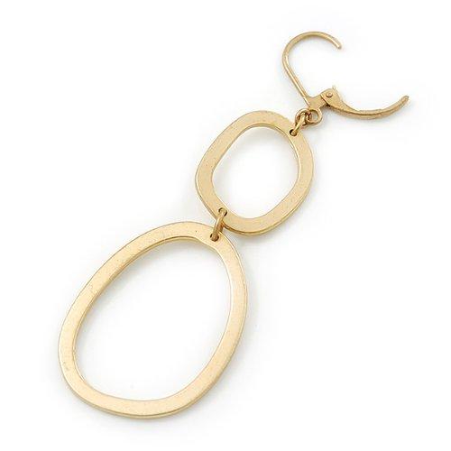 Boucles d'oreilles pendants lien rond plaqué or avec fermeture pince