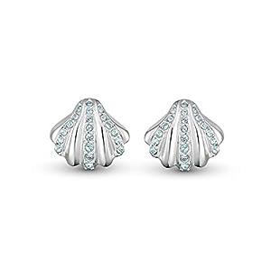 SWAROVSKI Women's Shell Jewelry Collection, Rhodium Finish, Aqua Blue Crystals