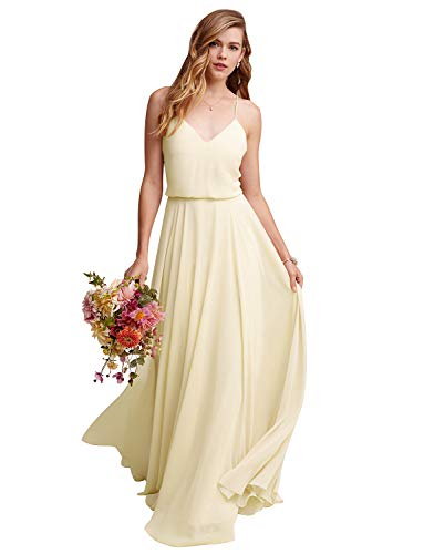 d192efb922a Gardenwed Women's Sleeveless Chiffon Long Bridesmaid Dress Semi-Formal Maxi  Evening Dress Champagne Size 14