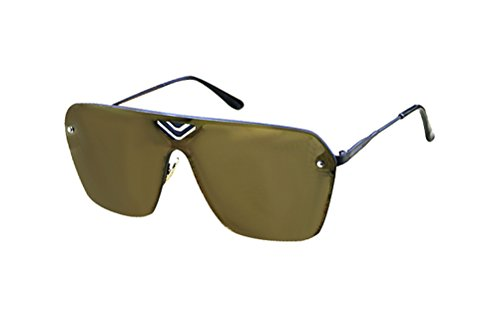 GAMT Fashion Mirrored TV Style Sunglasses Metal Frame Gold