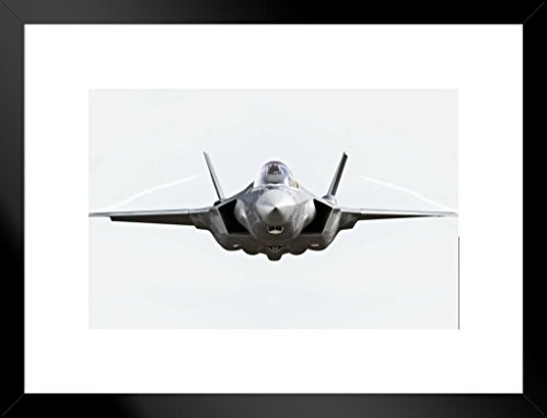 Poster Foundry F35 Lightning II Fighter Jet Plane Front Isolated Photo Matted Framed Wall Art Print 20x26 inch