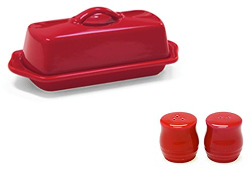 Chantal Set of Red Standard Covered Butter Dish and Salt and Pepper (0.25 Lb Butter Dish)