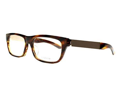 YSL Saint Laurent YSL 4022J 8LW Brown Horn/light gold rectangle eyeglasses